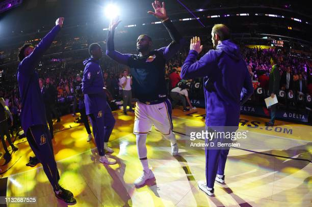 LeBron James of the Los Angeles Lakers makes his entrance before the game against the Sacramento Kings on March 24 2019 at STAPLES Center in Los...