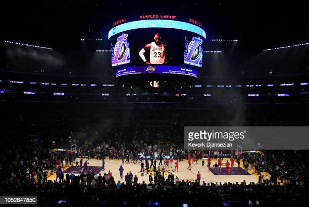 LeBron James of the Los Angeles Lakers makes his home debut against the Houston Rockets at Staples Center on October 20 2018 in Los Angeles...