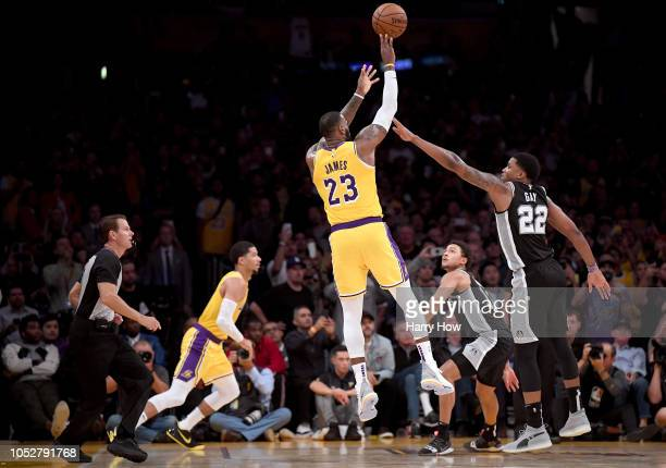 LeBron James of the Los Angeles Lakers misses a last second shot in front of Rudy Gay of the San Antonio Spurs to lose 143142 in overtime at Staples...