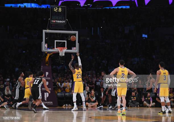 LeBron James of the Los Angeles Lakers misses his second straight freethrow with a 142141 lead during overtime against the San Antonio Spurs at...