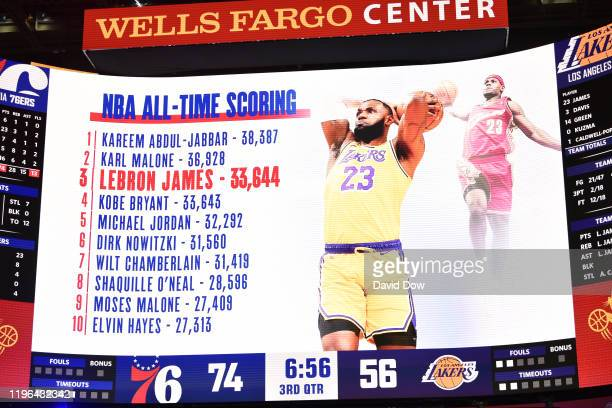 LeBron James of the Los Angeles Lakers passes Kobe Bryant for third on NBA's alltime scoring list during a game against the Philadelphia 76ers on...