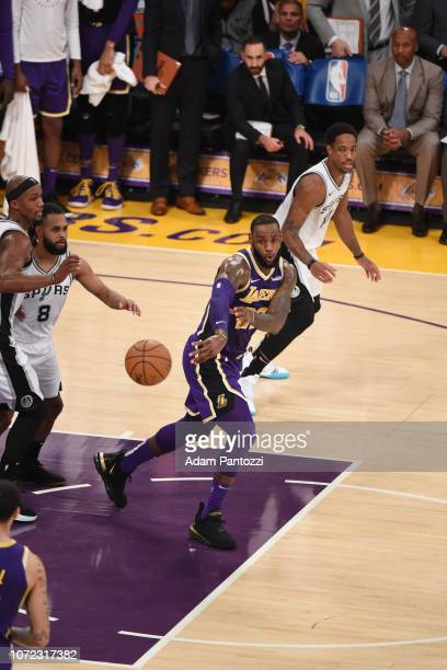 LeBron James of the Los Angeles Lakers passes the ball against the San Antonio Spurs on December 5 2018 at STAPLES Center in Los Angeles California...