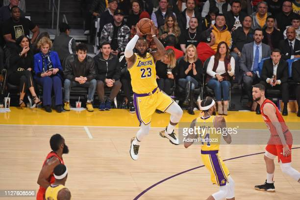 LeBron James of the Los Angeles Lakers passes the ball against the Houston Rockets on February 21, 2019 at STAPLES Center in Los Angeles, California....