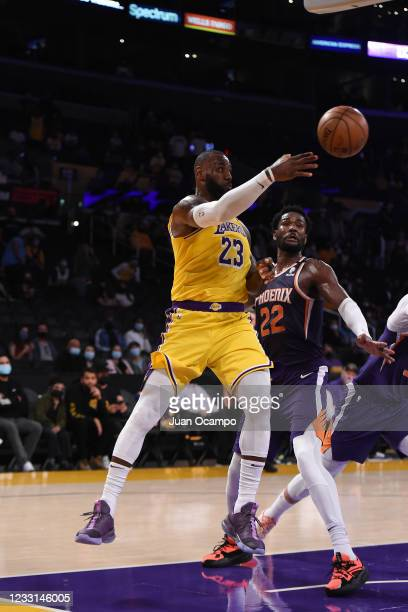 LeBron James of the Los Angeles Lakers passes the ball against the Phoenix Suns during Round 1, Game 3 of the 2021 NBA Playoffs on May 27, 2021 at...