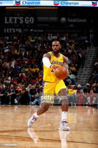 LeBron James of the Los Angeles Lakers passes the ball during a game against the New Orleans Pelicans on November 27, 2019 at Smoothie King Center in...