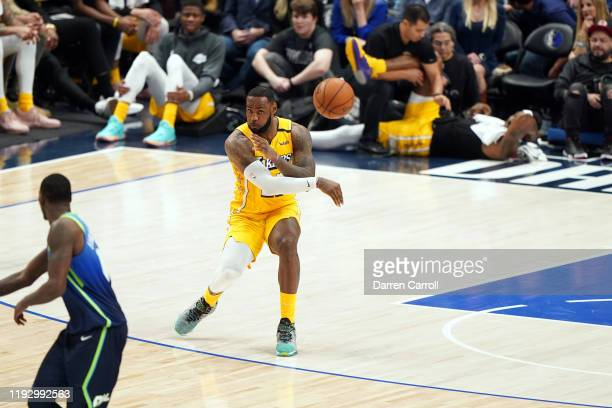 LeBron James of the Los Angeles Lakers passes the ball during the game against the Dallas Mavericks on January 10 2020 at the American Airlines...