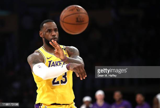 LeBron James of the Los Angeles Lakers passes the ball during the second half of a game against the New York Knicks at Staples Center on January 07,...