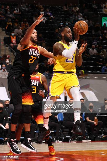 LeBron James of the Los Angeles Lakers passes the ball during the game against the Utah Jazz on February 24, 2021 at vivint.SmartHome Arena in Salt...