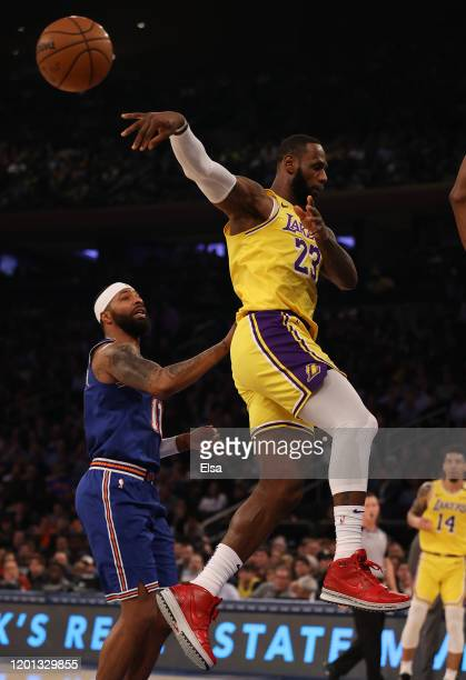 LeBron James of the Los Angeles Lakers passes the ball in the first half against the New York Knicks at Madison Square Garden on January 22, 2020 in...