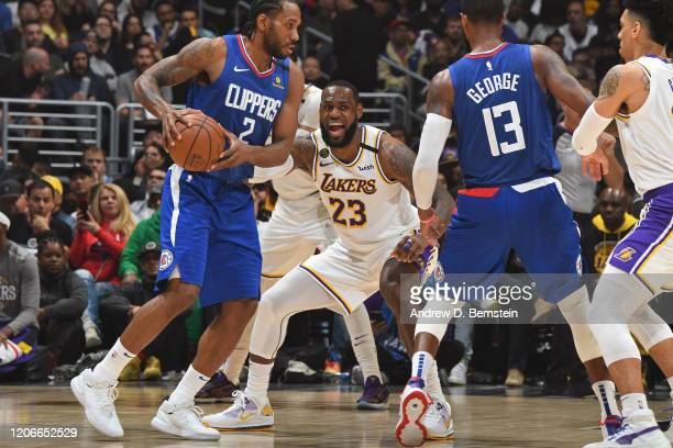 LeBron James of the Los Angeles Lakers plays defense against the LA Clippers on March 8 2020 at STAPLES Center in Los Angeles California NOTE TO USER...