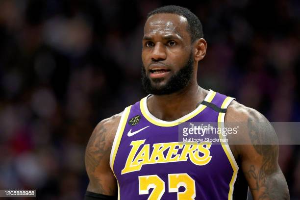 LeBron James of the Los Angeles Lakers plays the Denver Nuggets in the third quarter at Pepsi Center on February 12 2020 in Denver Colorado NOTE TO...