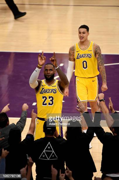 LeBron James of the Los Angeles Lakers points at the crowd against the San Antonio Spurs on October 22 2018 at STAPLES Center in Los Angeles...