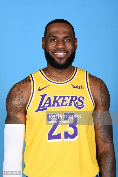 LeBron James of the Los Angeles Lakers poses for a head shot during media day on September 27 2019 at the UCLA Health Training Center in El Segundo...