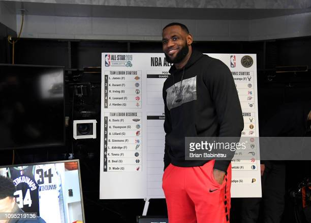 LeBron James of the Los Angeles Lakers poses for a photograph during the 2019 AllStar Draft on February 7 2019 at TD Garden in Boston Massachusetts...
