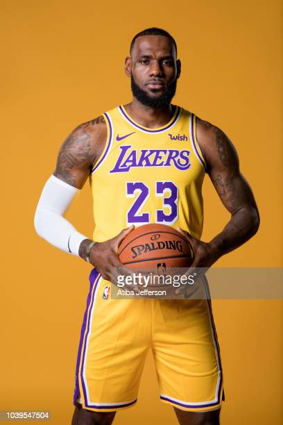 LeBron James of the Los Angeles Lakers poses for a portrait during media day at UCLA Health Training Center on September 24, 2018 in El Segundo,...