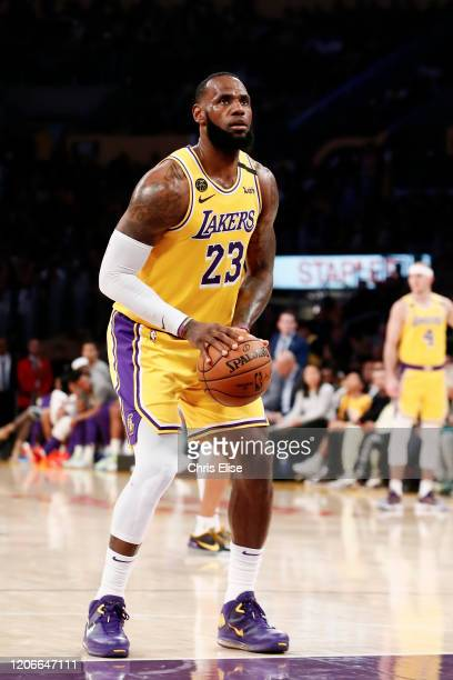 LeBron James of the Los Angeles Lakers prepares to shoot a free throw during a game against the Brooklyn Nets at the Staples Center on March 10 2020...