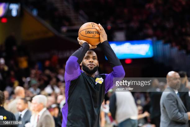 LeBron James of the Los Angeles Lakers prior to the game against the Cleveland Cavaliers at Quicken Loans Arena on November 21 2018 in Cleveland Ohio...