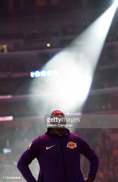 LeBron James of the Los Angeles Lakers prior to the start of the basketball game against Brooklyn Nets at Staples Center on March 22 2019 in Los...