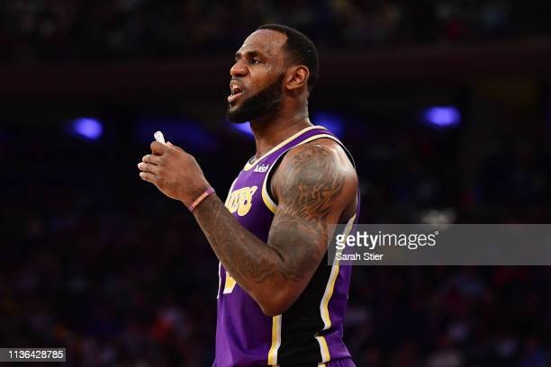 LeBron James of the Los Angeles Lakers reacts after a call during the second half of the game against the New York Knicks at Madison Square Garden on...