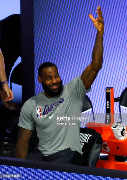 LeBron James of the Los Angeles Lakers reacts after a JR Smith basket against the Sacramento Kings during the third quarter at The Field House at...