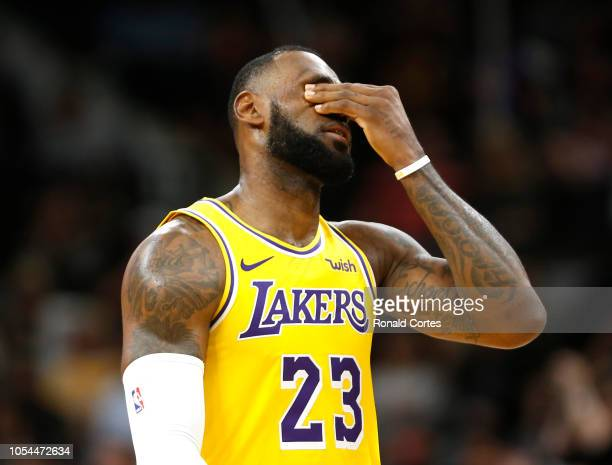 LeBron James of the Los Angeles Lakers reacts after a turnover against the San Antonio Spurs at ATT Center on October 27 2018 in San Antonio Texas...