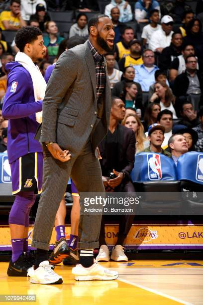 LeBron James of the Los Angeles Lakers reacts against the Detroit Pistons on January 9 2019 at STAPLES Center in Los Angeles California NOTE TO USER...