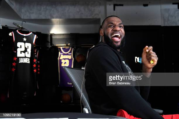 LeBron James of the Los Angeles Lakers reacts during the 2019 AllStar Draft on February 7 2019 at TD Garden in Boston Massachusetts NOTE TO USER User...