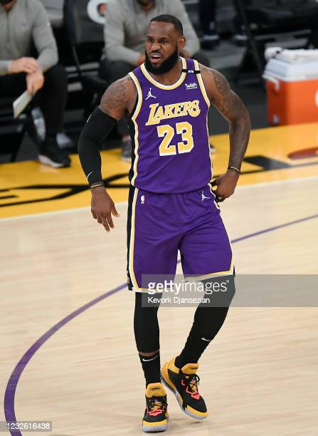 LeBron James of the Los Angeles Lakers reacts during the first half against the Sacramento Kings at Staples Center on April 30, 2021 in Los Angeles,...