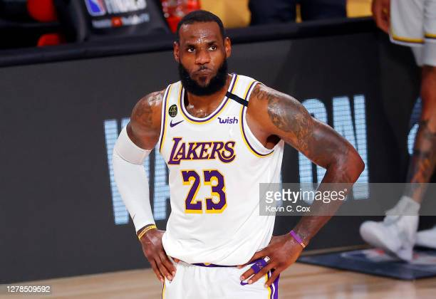LeBron James of the Los Angeles Lakers reacts during the fourth quarter against the Miami Heat in Game Three of the 2020 NBA Finals at AdventHealth...