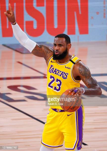 LeBron James of the Los Angeles Lakers reacts during the fourth quarter against the Miami Heat in Game Four of the 2020 NBA Finals at AdventHealth...