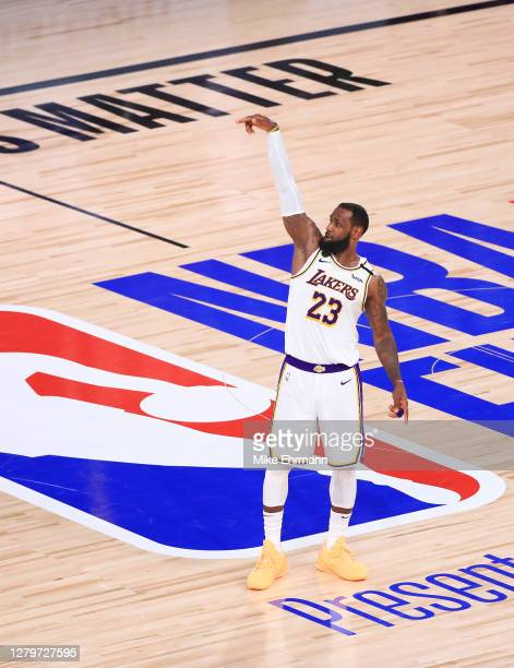 LeBron James of the Los Angeles Lakers reacts during the fourth quarter against the Miami Heat in Game Six of the 2020 NBA Finals at AdventHealth...