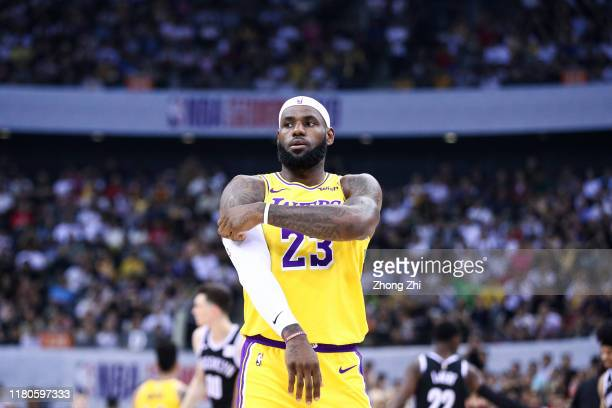 LeBron James of the Los Angeles Lakers reacts during the match against the Brooklyn Nets during a preseason game as part of 2019 NBA Global Games...