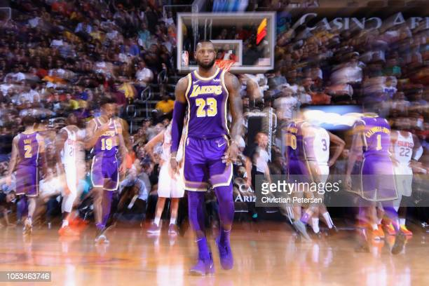 LeBron James of the Los Angeles Lakers reacts during the NBA game against the Phoenix Suns at Talking Stick Resort Arena on October 24 2018 in...