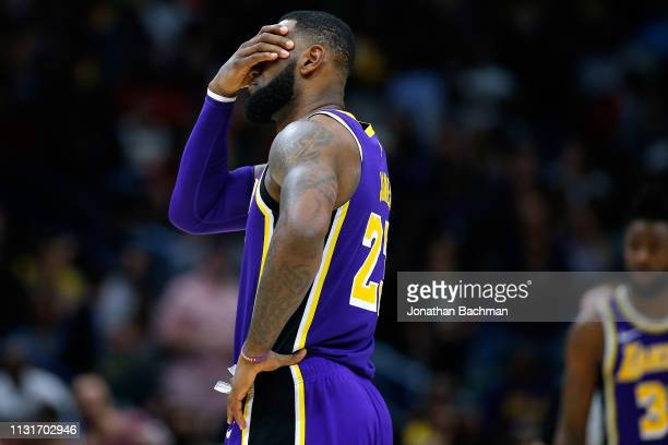 LeBron James of the Los Angeles Lakers reacts during the second half against the New Orleans Pelicans at the Smoothie King Center on February 23 2019...