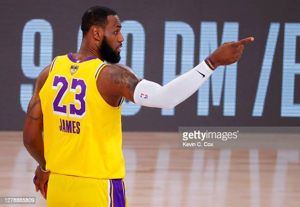 LeBron James of the Los Angeles Lakers reacts during the second quarter against the Miami Heat in Game Four of the 2020 NBA Finals at AdventHealth...
