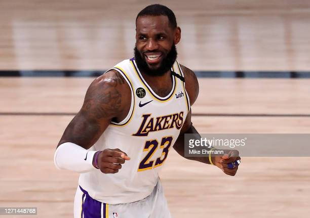 LeBron James of the Los Angeles Lakers reacts during the third quarter against the Houston Rockets in Game Three of the Western Conference Second...