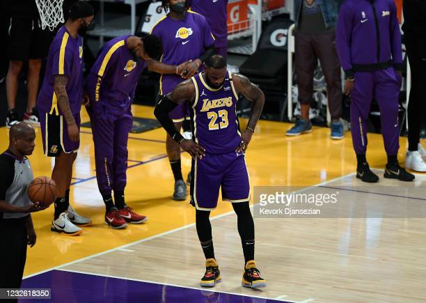 LeBron James of the Los Angeles Lakers reacts end of the game after losing to the Sacramento Kings at Staples Center on April 30, 2021 in Los...