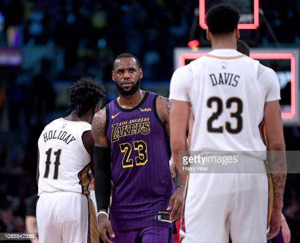 LeBron James of the Los Angeles Lakers reacts in front of Anthony Davis of the New Orleans Pelicans after a 112104 Laker win at Staples Center on...
