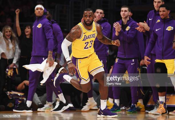 LeBron James of the Los Angeles Lakers reacts in front of the bench during the first quarter against the Houston Rockets at Staples Center on October...