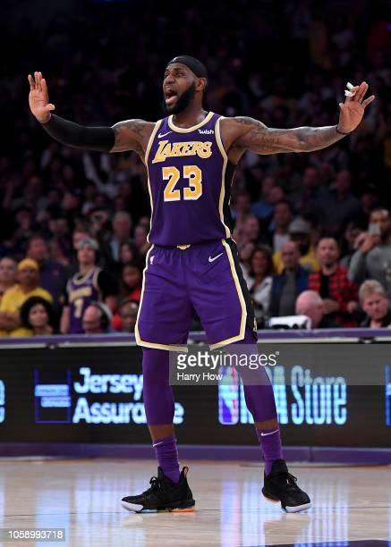 LeBron James of the Los Angeles Lakers reacts reacts during a 114110 win over the Minnesota Timberwolves at Staples Center on November 7 2018 in Los...