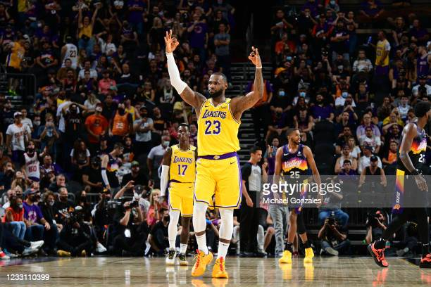 LeBron James of the Los Angeles Lakers reacts to a play against the Phoenix Suns during Round 1, Game 2 of the 2021 NBA Playoffs on May 25, 2021 at...