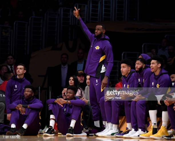 LeBron James of the Los Angeles Lakers reacts to a the Laker offense during the first half against the Golden State Warriors at Staples Center on...