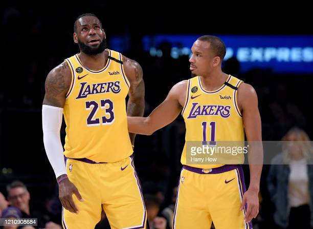 LeBron James of the Los Angeles Lakers reacts to Avery Bradley after an injury during a 113103 Laker win over the Milwaukee Bucks at Staples Center...