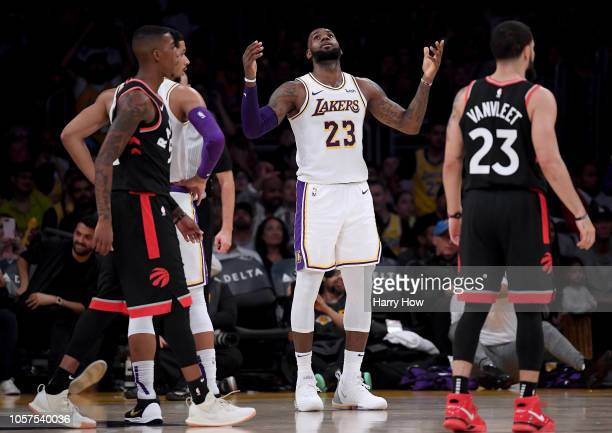 LeBron James of the Los Angeles Lakers reacts to his foul during a 121107 Toronto Raptor win at Staples Center on November 4 2018 in Los Angeles...