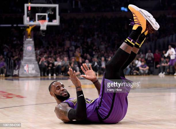 LeBron James of the Los Angeles Lakers reacts to his missed shot as he is fouled during the first half against the Portland Trail Blazers at Staples...