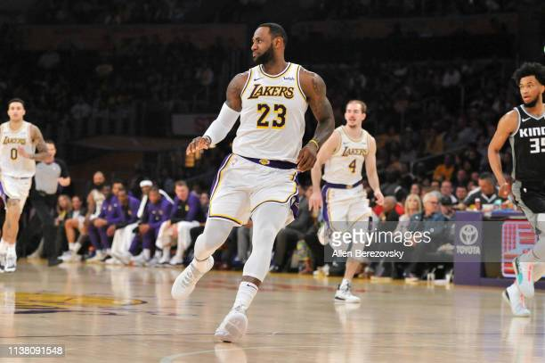 LeBron James of the Los Angeles Lakers runs the fast break during a game against the Sacramento Kings at Staples Center on March 24 2019 in Los...