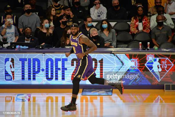 LeBron James of the Los Angeles Lakers runs up court against the Phoenix Suns on October 22, 2021 at STAPLES Center in Los Angeles, California. NOTE...