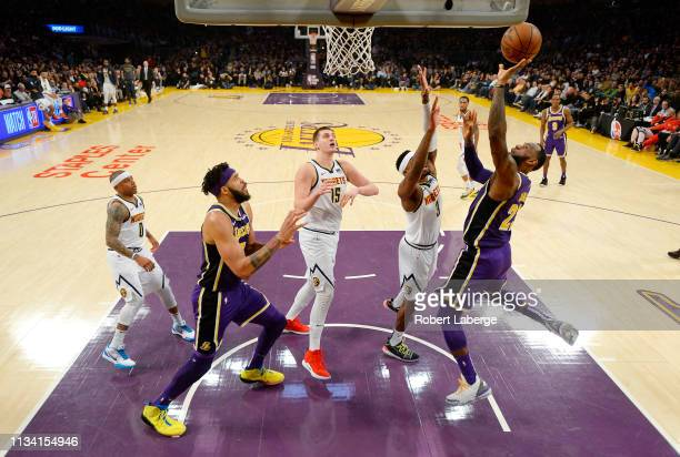 LeBron James of the Los Angeles Lakers scores to pass Michael Jordan and move to on the NBA's all-time scoring list during the second quarter against...