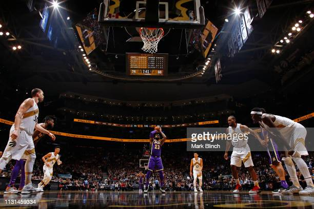 LeBron James of the Los Angeles Lakers shoots a free throw against the Toronto Raptors on March 14 2019 at the Scotiabank Arena in Toronto Ontario...