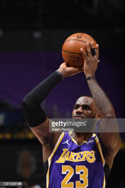 LeBron James of the Los Angeles Lakers shoots a free throw during the game against the Portland Trail Blazers on February 26, 2021 at STAPLES Center...